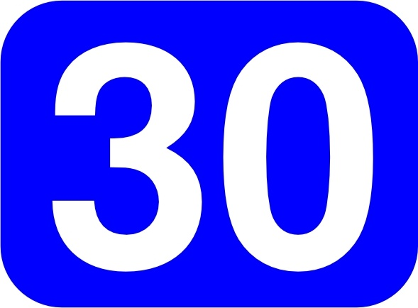 Blue Rounded Rectangle With Number 30 clip art Free vector.