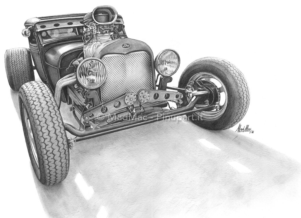 Pencil drawing of Ford Hot Rod.