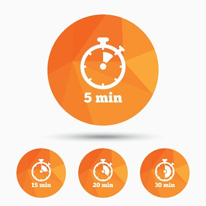 Timer icons. Five minutes stopwatch symbol. Clipart Image.
