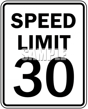 Royalty Free Clip Art Image: Speed Limit Sign.
