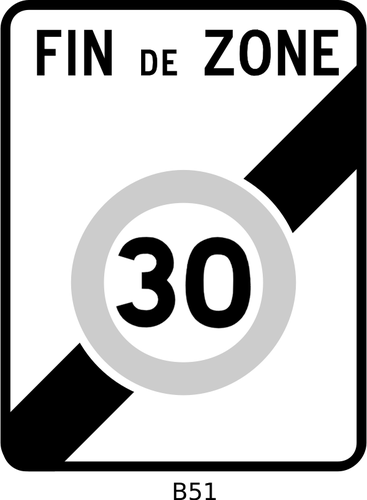 Vector graphics of end of 30mph speed limit road sign.