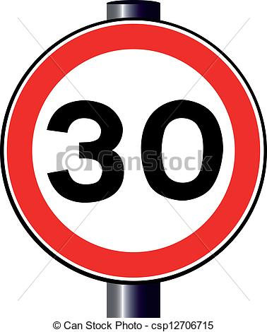 Vector Clip Art of 30 MPH Sign.