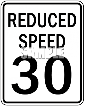 Reduced Speed Sign.