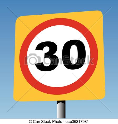 Vector of 30 mph on yellow board.
