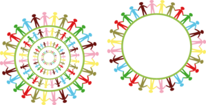 Circle Holding Hands Stick People Multi Coloured Clip Art at.