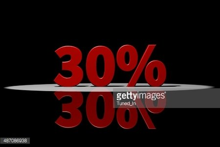 30 percent, red text, 3D Rendering with reflection Clipart.