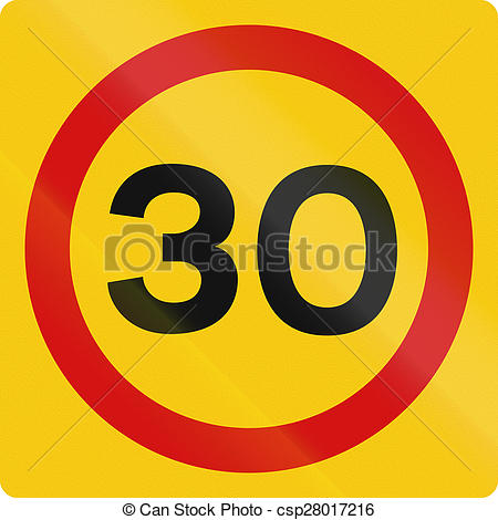 Clipart of Speed Limit 30 in Iceland.