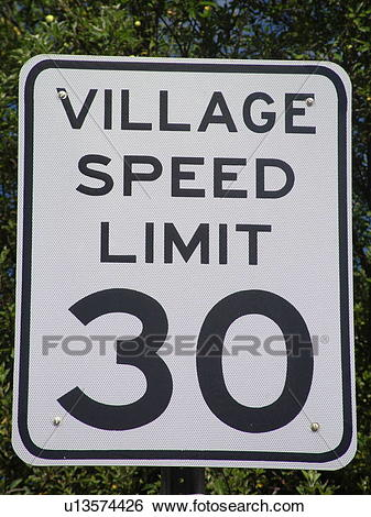 Stock Images of road sign, Village Speed Limit 30, speed limit.