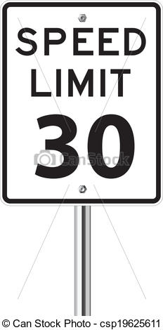 Vector Clip Art of Speed limit 30 traffic sign on white.