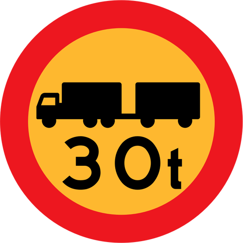 30 ton trucks road sign vector clip art.
