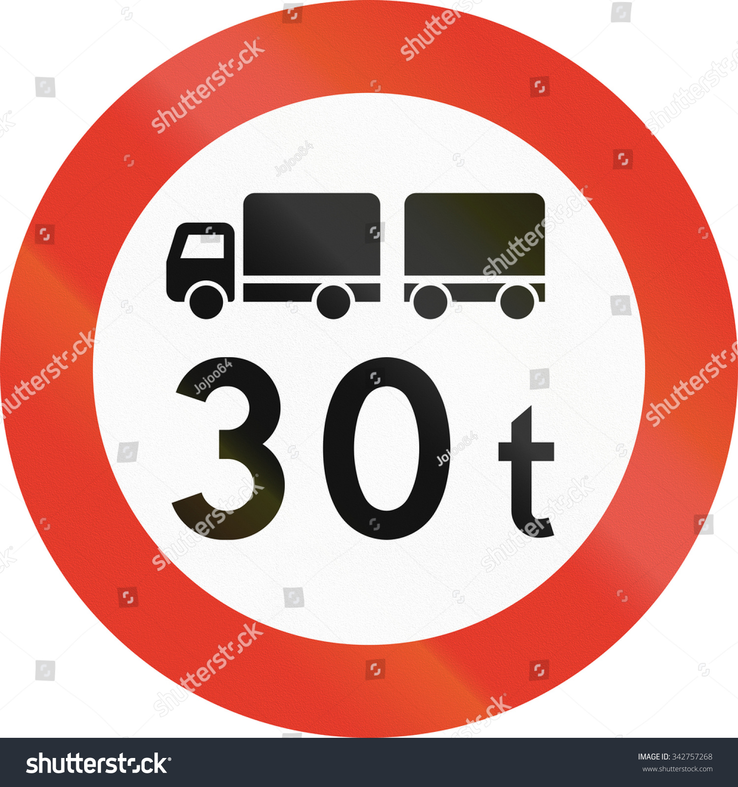 Norwegian Regulatory Road Sign No Trucks Stock Illustration.