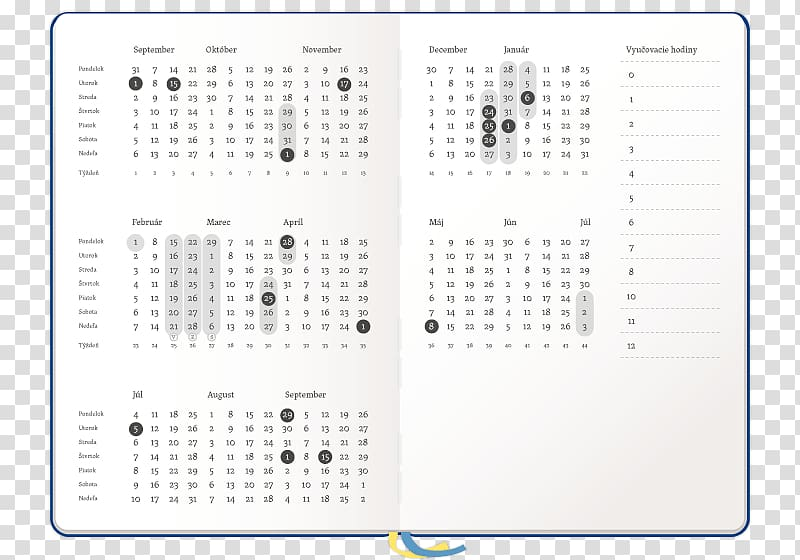 Calendar Year Holiday 0 Week, others transparent background.