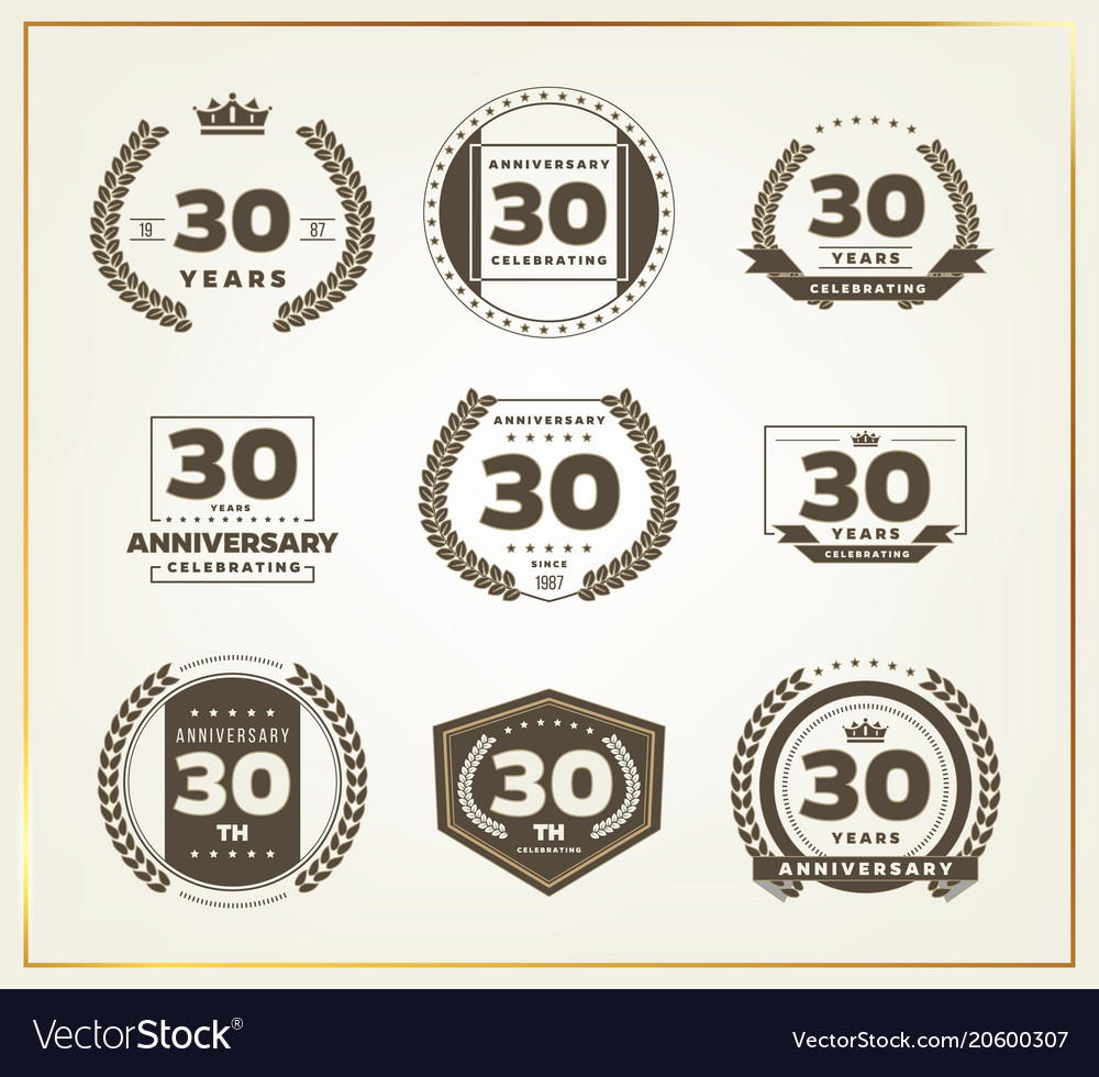 30 years anniversary logo set.