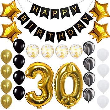 Happy 30th Birthday Banner Balloons Set for 30 Years Old Birthday Party  Decoration Supplies Gold Black.