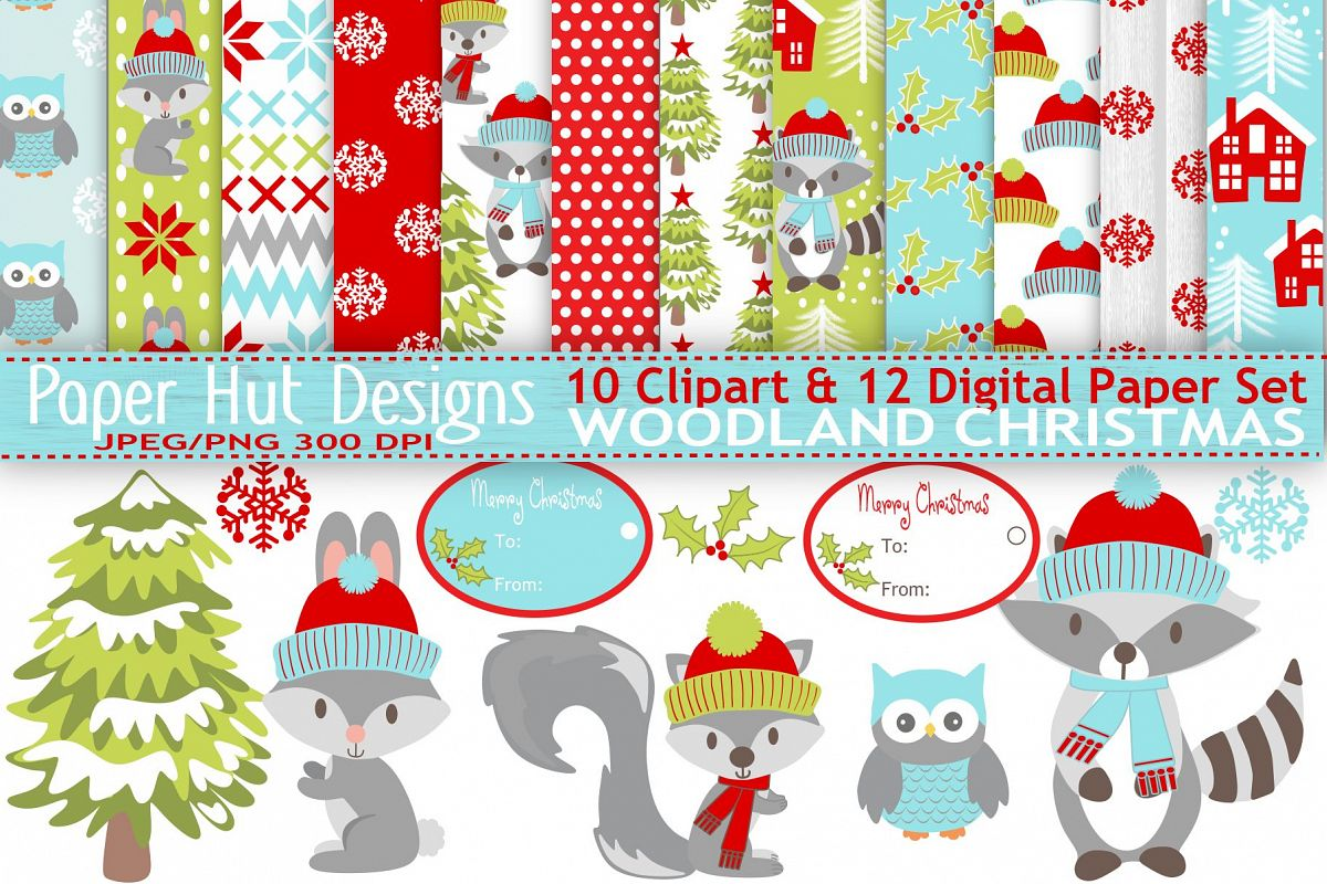 Woodland Animals Christmas Clipart and Digital Papers Set.