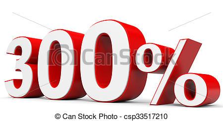Clipart of Discount 300 percent off. 3D illustration. csp33517210.