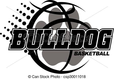 Vector Clip Art of bulldog basketball design with paw csp30011018.