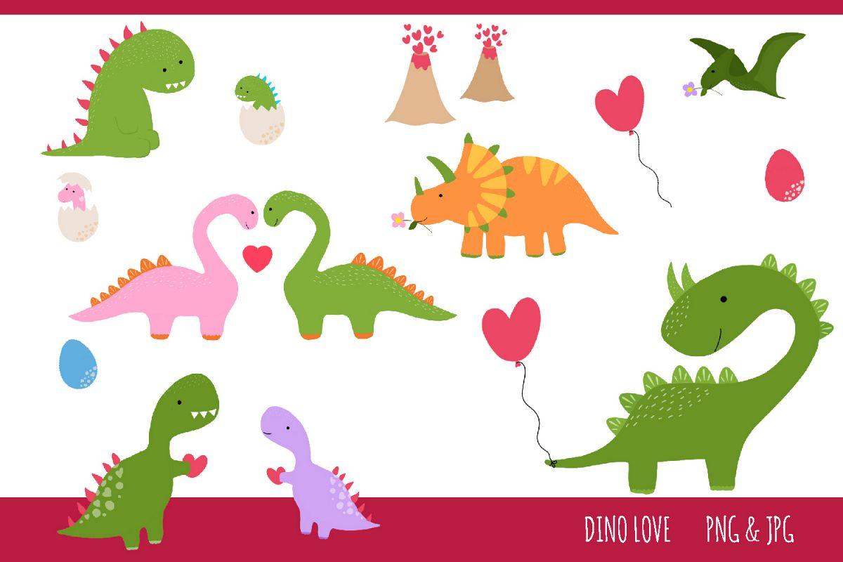 Dinosaur Love Clipart Set.