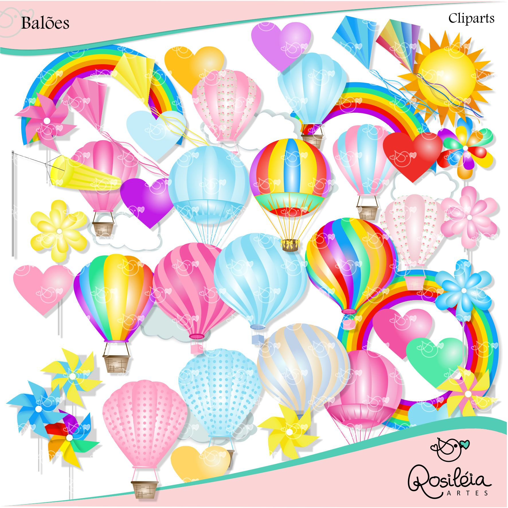 Balloons Clipart instant download PNG file 300 dpi.