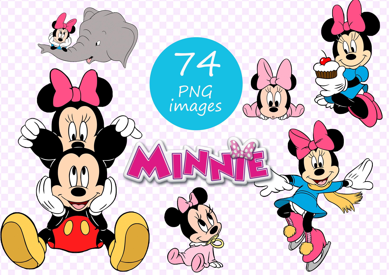 Minnie Mouse clipart 300 dpi 74 cut images on transparent.
