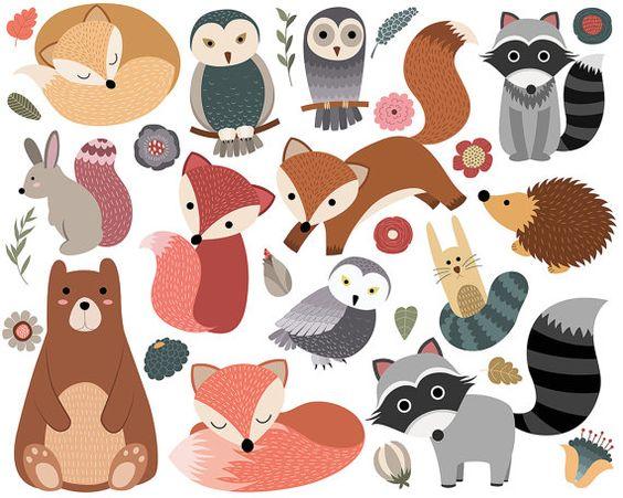 Woodland Critters Clip Art.