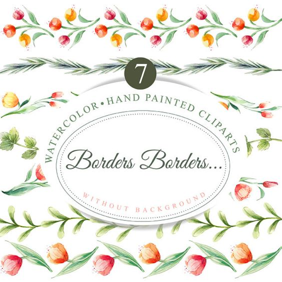 7 Floral borders, hand painted clipart, watercolor borders.