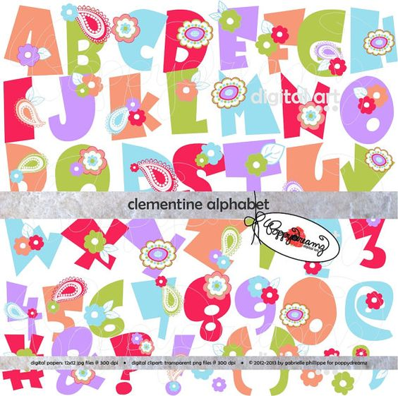 Clementine Alphabet: Clip Art Pack (300 dpi transparent png) Card.