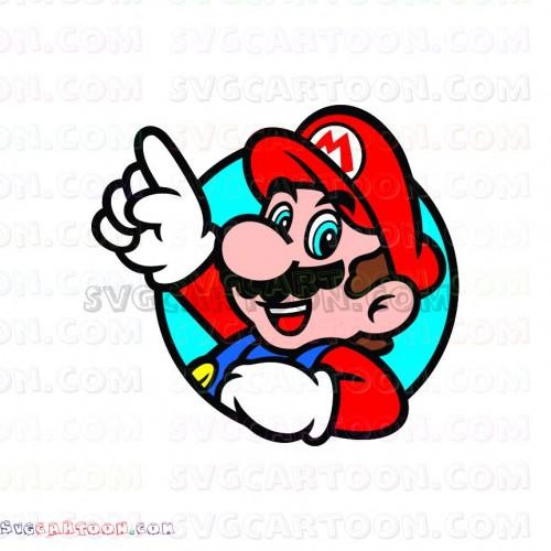 Super Mario Bros waving his hand Through a Circle svg dxf.