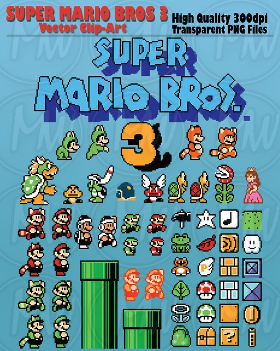Super Mario Bros 3, Clipart, Mario, Pixels, 8.