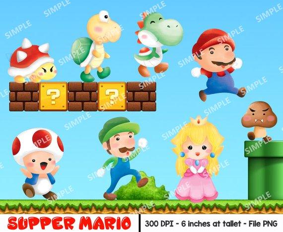 Mario Clip Art, Luigi Png, Mushroom Clipart, Mario Digital.