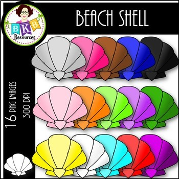 Rainbow Beach Shells● Clip Art ● Products for TpT Sellers.