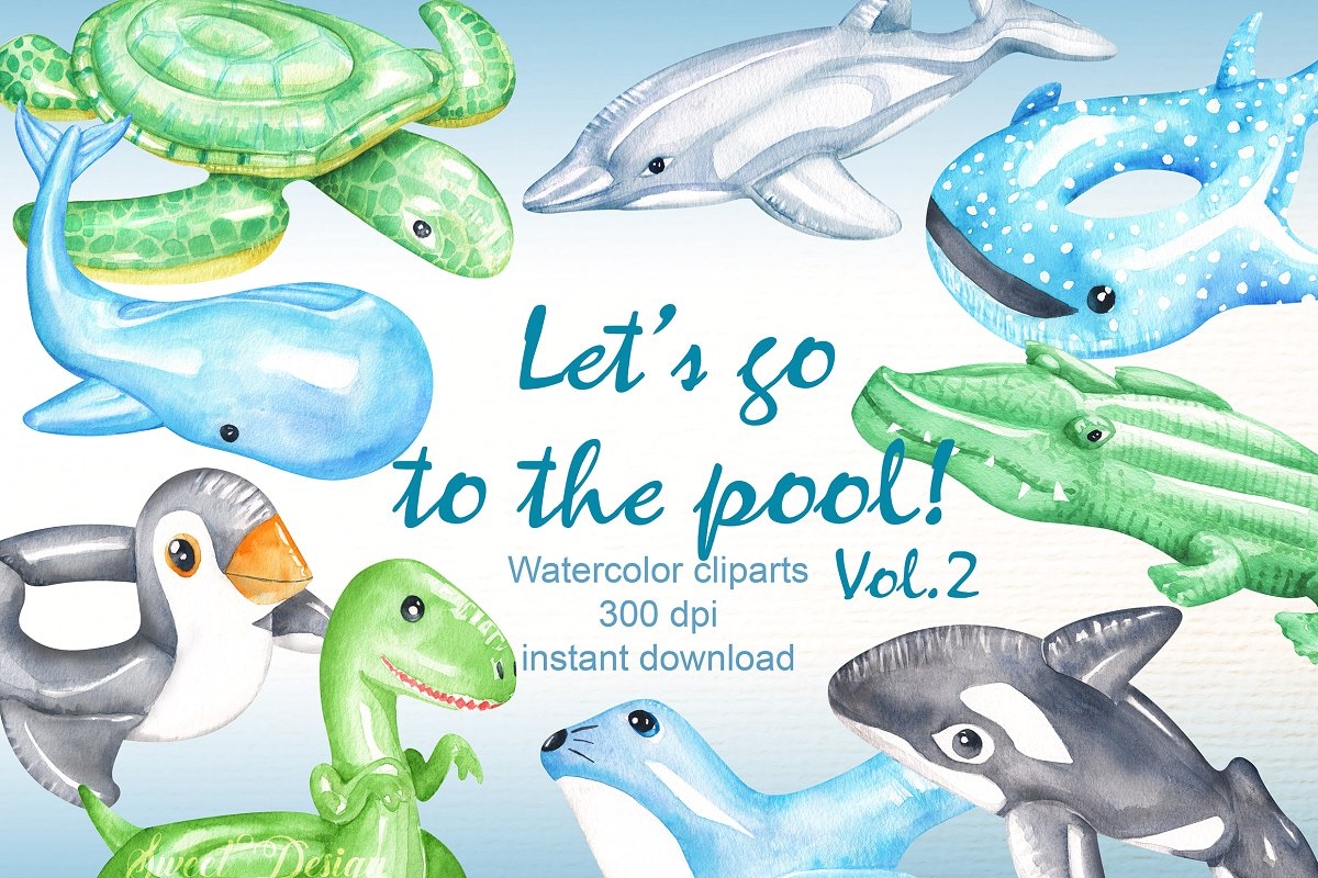 Pool float clipart ~ Illustrations ~ Creative Market.