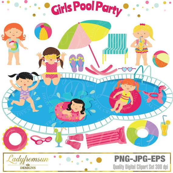 Girls Pool Party Clipart, Pool Party Clip Art, Summer Party.