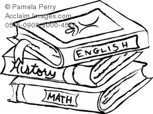 Black and White Clip Art Illustration of a Stack of Text Books.