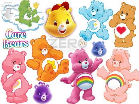 70 Care Bears Clipart, Instant Download 300DPI, Printable.