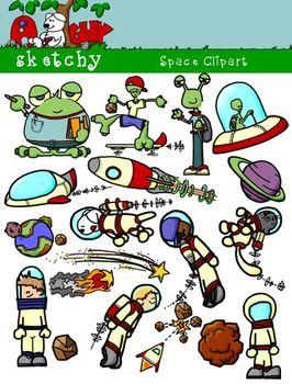 Space, Spaceship, Astronaut, Alien Clipart / Graphics.