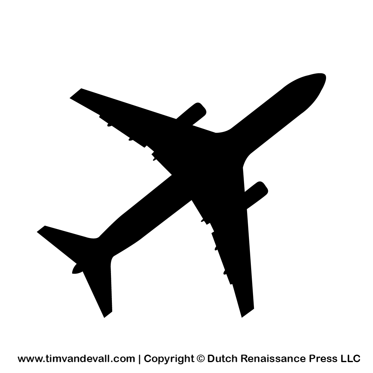 Silhouette of 300l plane vector clipart.
