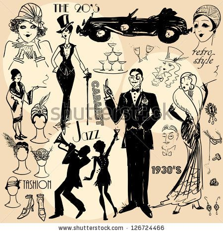 Hand drawn retro women and men of twenties, sketch, 20s, 30s.