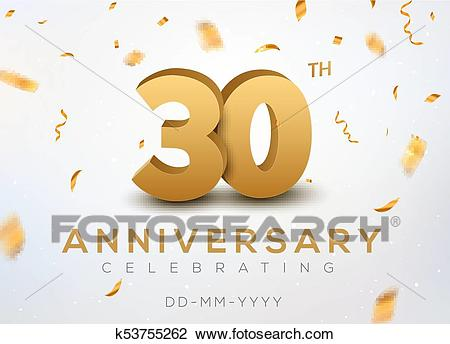30 Anniversary gold numbers with golden confetti. Celebration 30th  anniversary event party template Clipart.