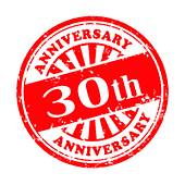 30th anniversary grunge rubber stamp Clip Art.