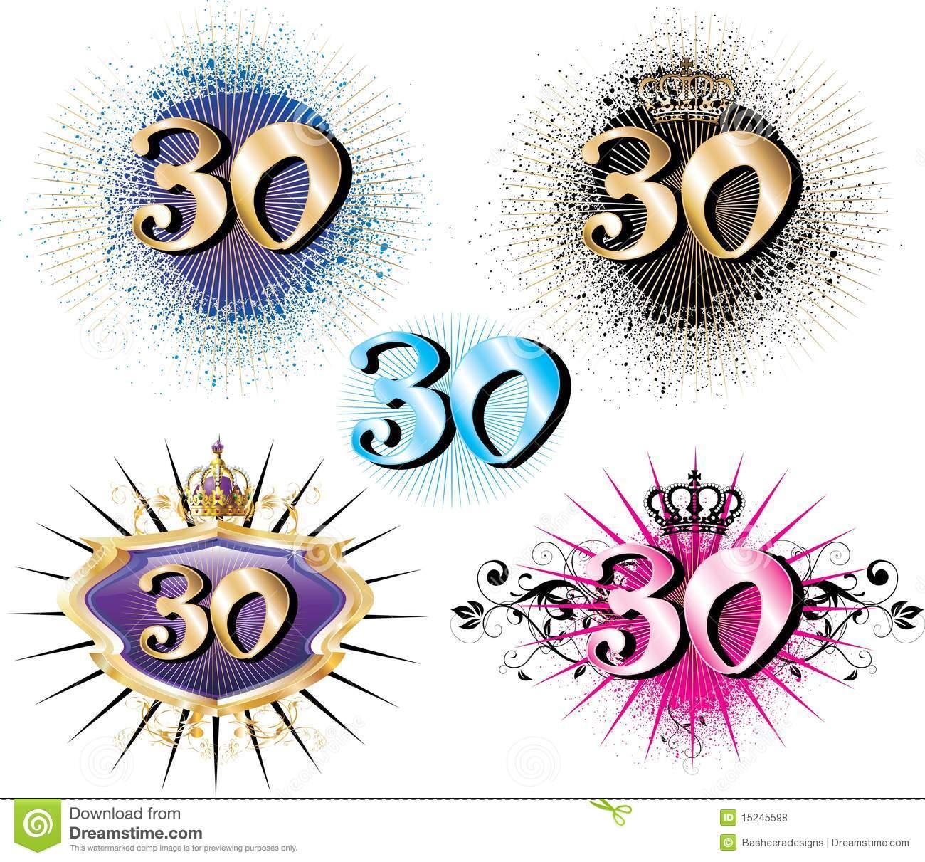 30th Birthday Or Anniversary Stock Vector.