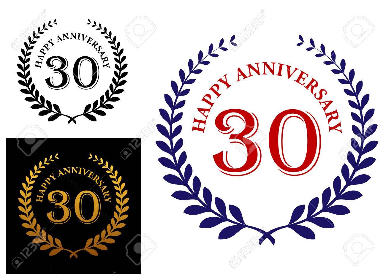 Happy 30th anniversary emblem with a foliate laurel wreath enclosing...