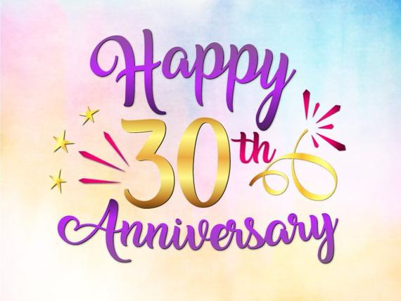 Happy 30th Anniversary SVG Pearl Wedding Thirty Gift Greeting Invitation  Clipart.