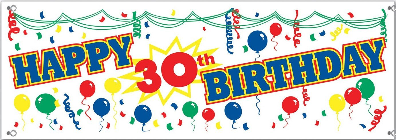 Happy 30th Birthday Banner Sign.
