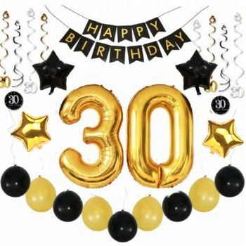 Easternhope 30th Birthday Party Decorations Kit With Happy Birthday Banner  Balloons Sparkling Hanging Swirls Party Supplies.