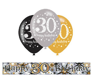 Details about 30TH BIRTHDAY GOLD / BLACK / SILVER PARTY PACK WITH BANNER &  6 HELIUM BALLOONS.