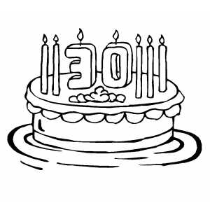 30th Birthday Cake Candles Coloring Page.