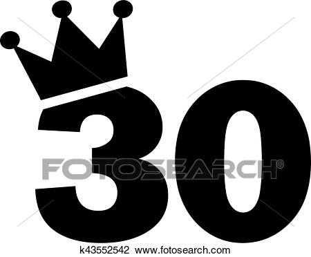 30th Birthday number crown Clipart.