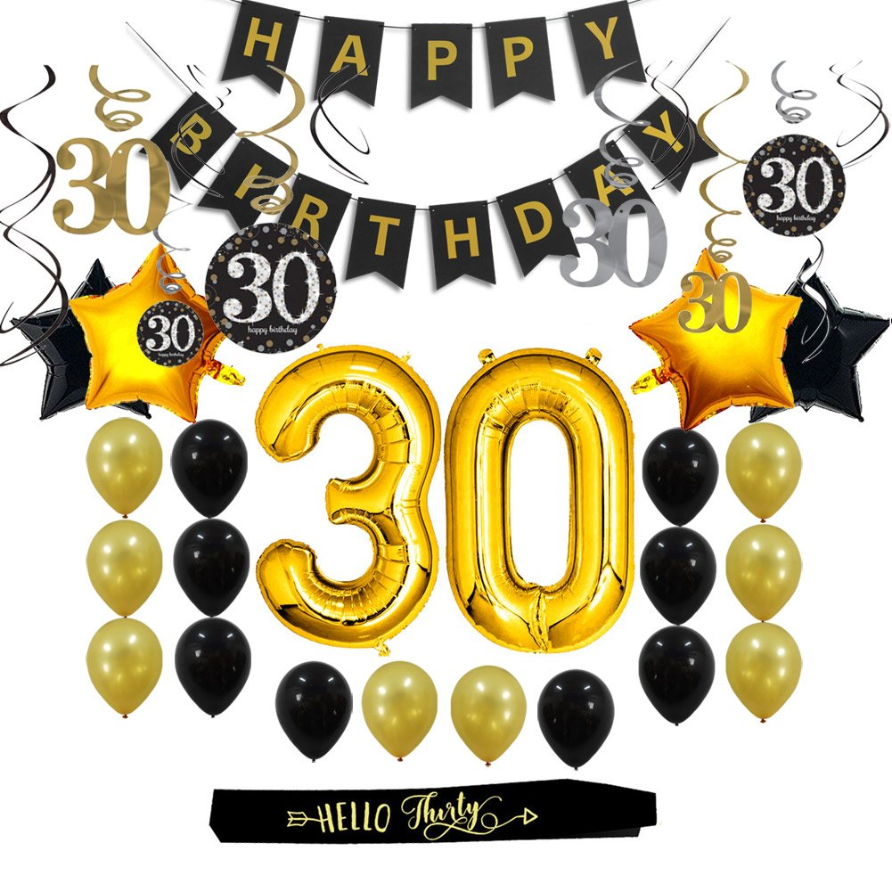 30th Birthday Decorations Gifts Party Supplies for Him/Her (Men/Women).