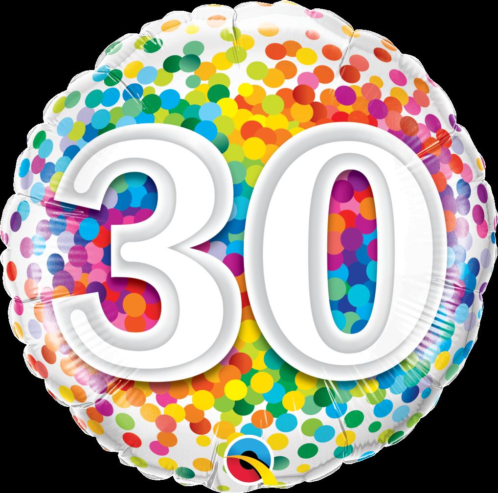 Rainbow Confetti 30th Birthday Balloon.